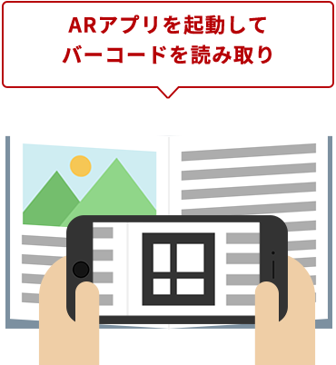 ARアプリを起動してバーコードを読み取り